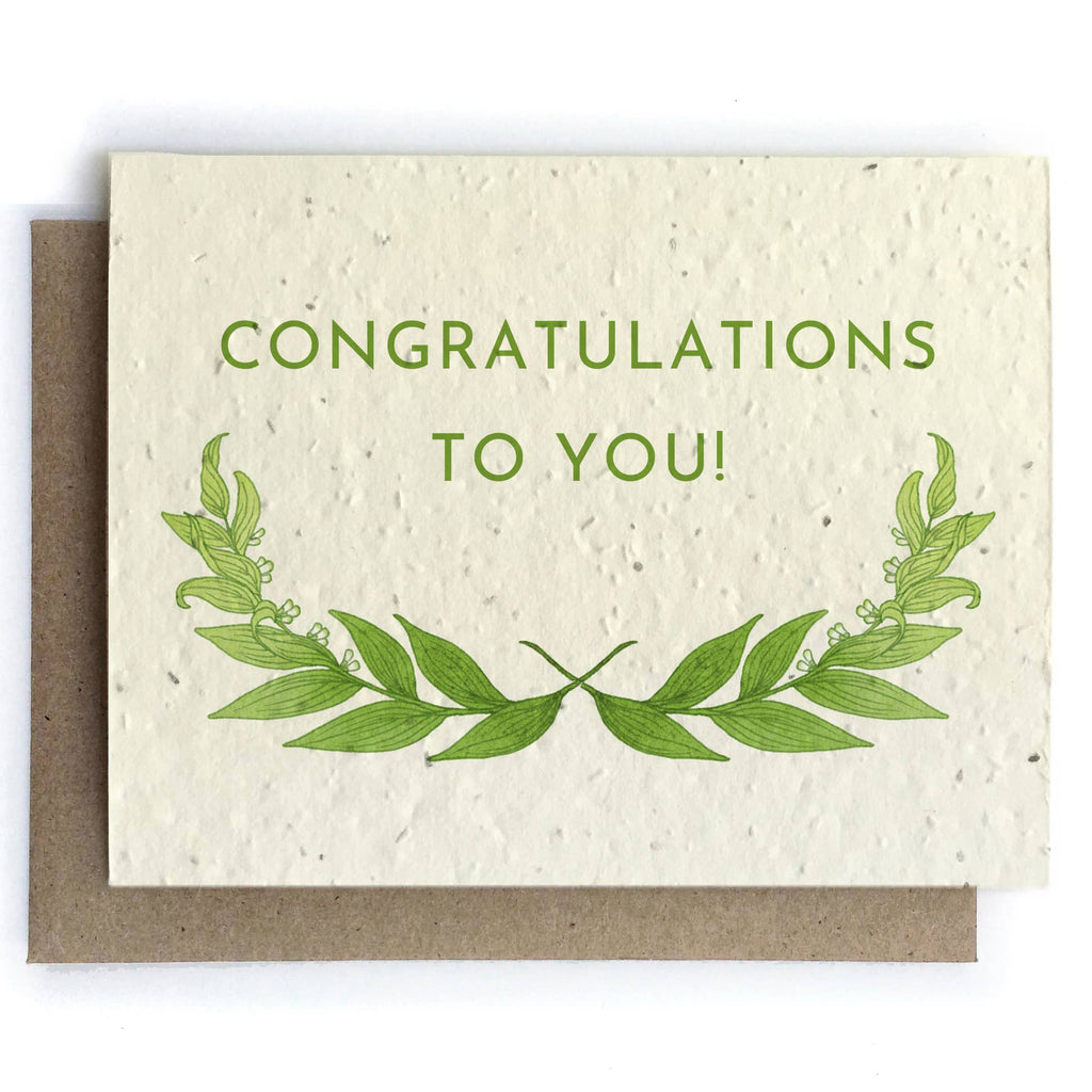 The Bower Studio - Congratulations Botanical Cards - Plantable Seed Paper