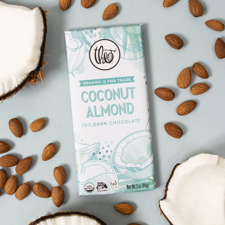 Theo Chocolate Bar - Coconut Almond 70% Dark Chocolate