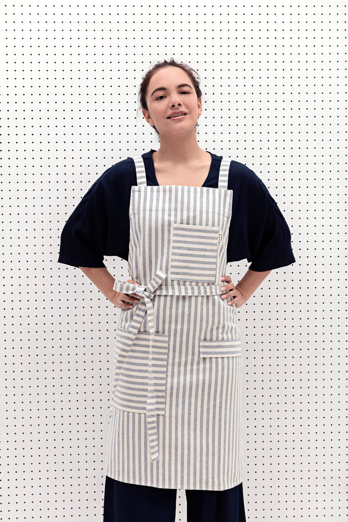 Striped Crossback Bib Apron