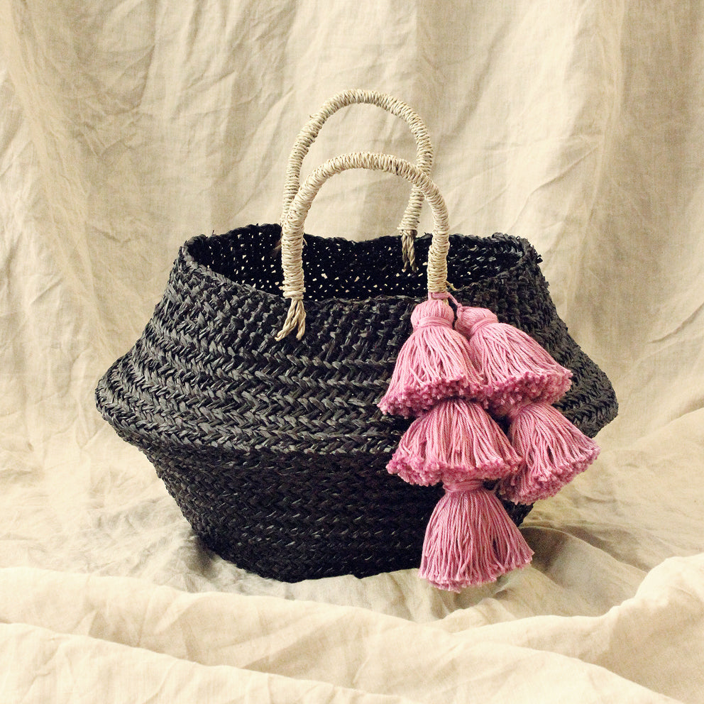 Brunna Co - Noir Belly Basket Bag, with Lavender Purple Tassels