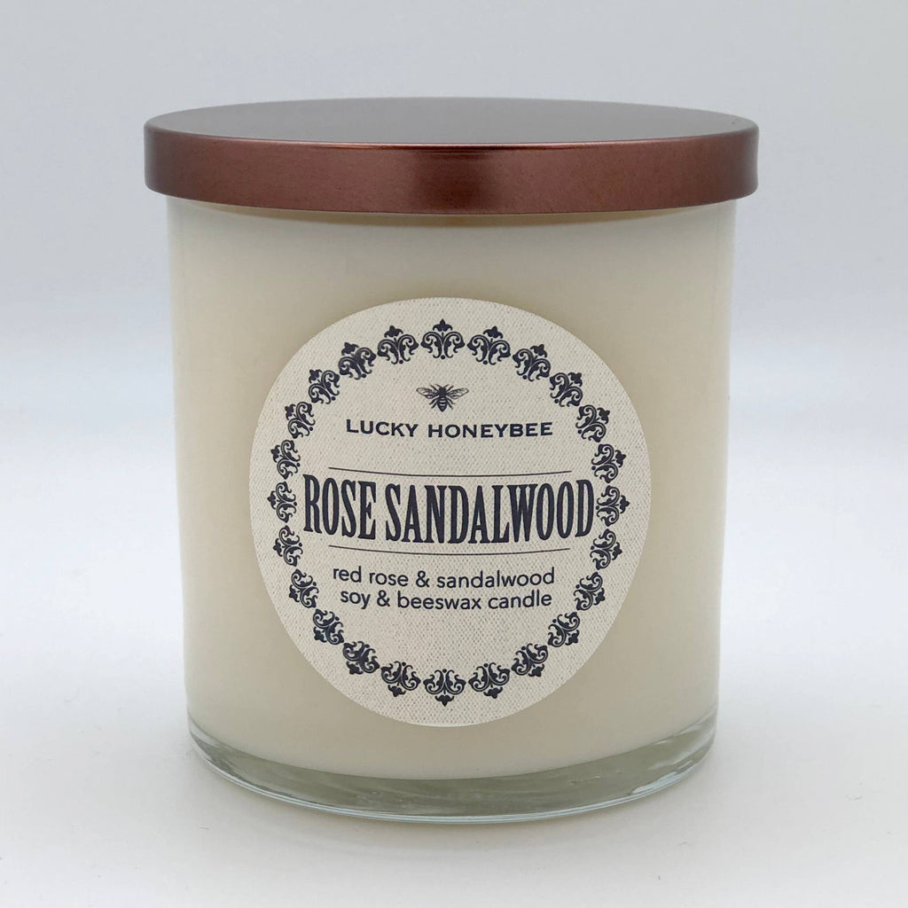 The Lucky Honeybee - Rose Sandalwood Candle 11 oz Clear Jar
