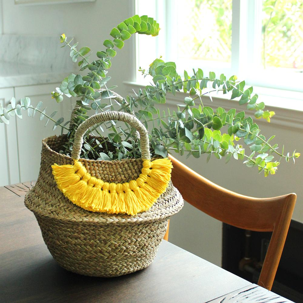 Brunna Co - Petite Woven Seagrass Straw Belly Basket - Yellow Tassels