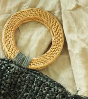 Brunna Co - Black Atta Warrior Raffia Fringes Half Moon Straw Bag