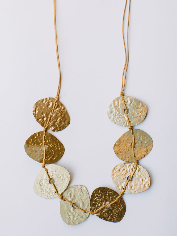 Hammered Oval Gold Necklace
