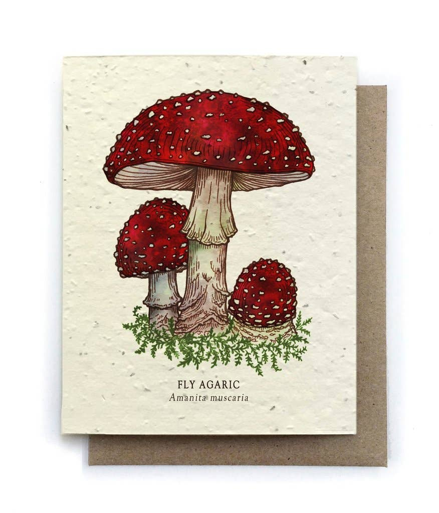 The Bower Studio - Fly Agaric Mushroom Greeting Cards - Plantable Seed Paper