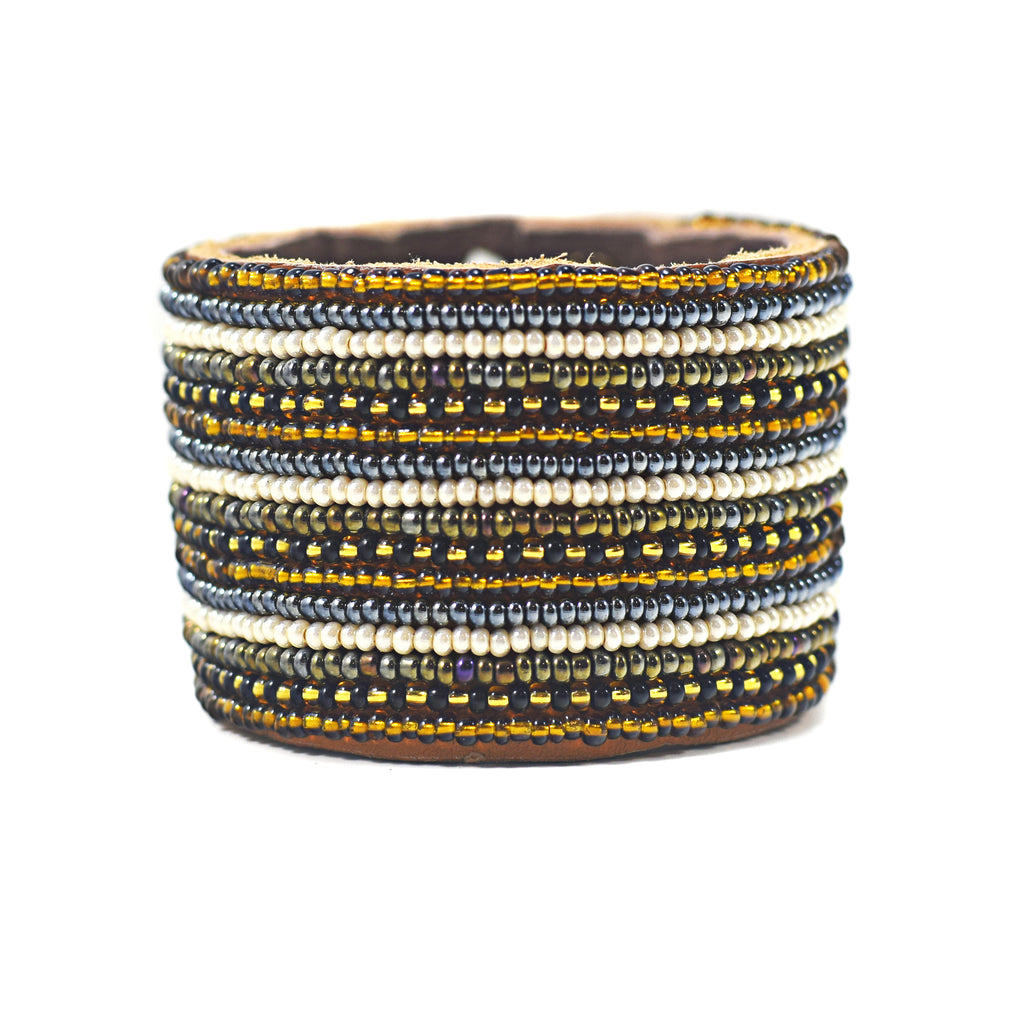 Swahili Coast - Large Neutral Stripe Leather Cuff