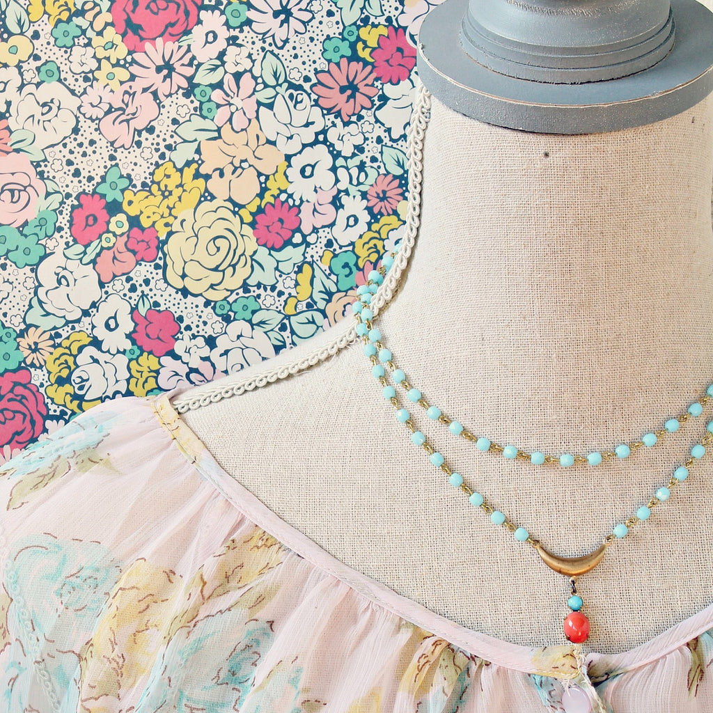 Pale Aqua Double Strand Statement Necklace