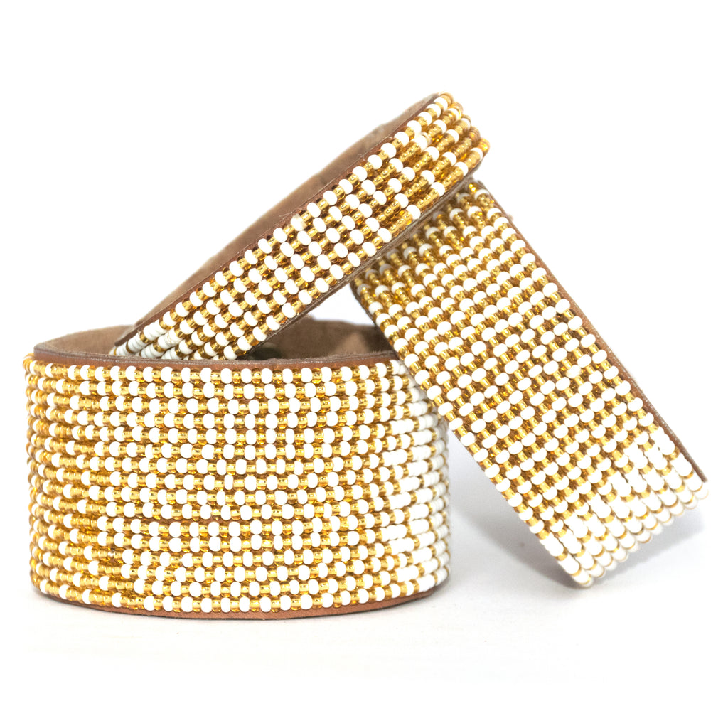 Swahili Coast - Medium Gold and White Ombre Leather Cuff