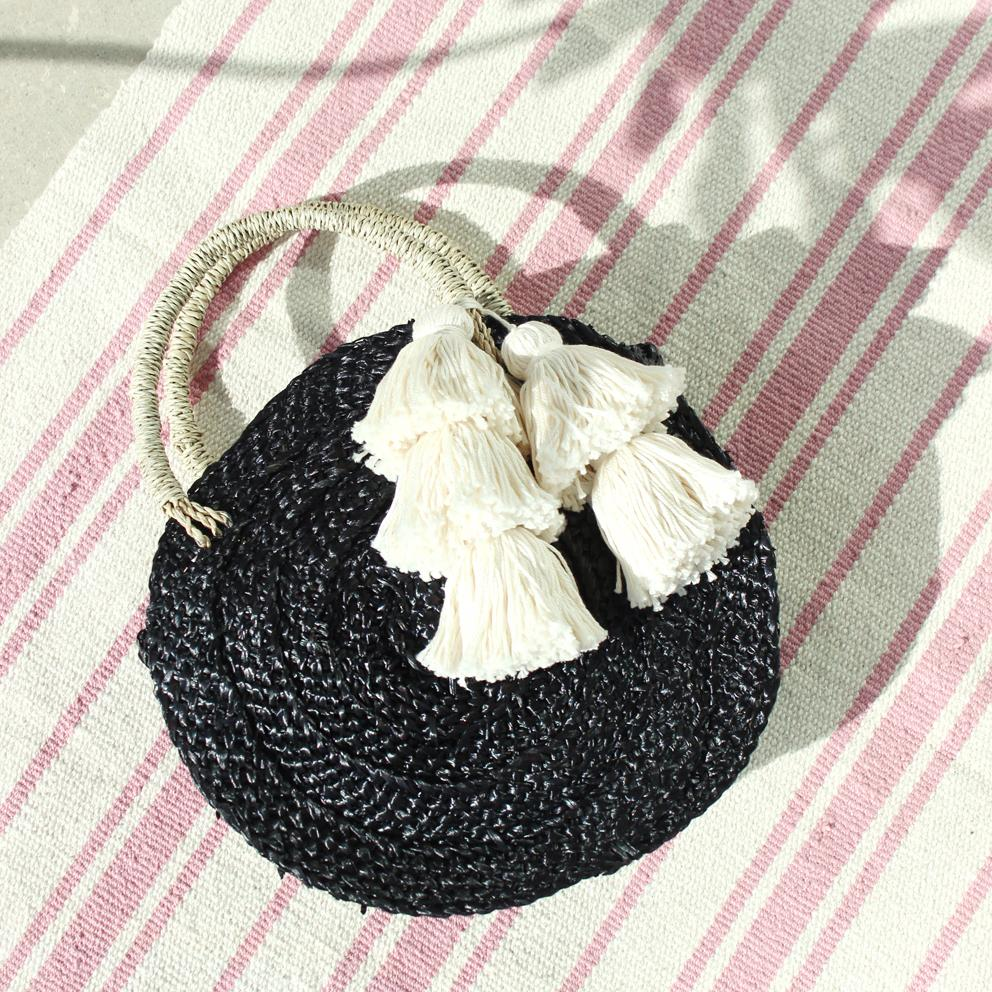 Petite Black Luna Round Straw Bag - Cream White Tassels