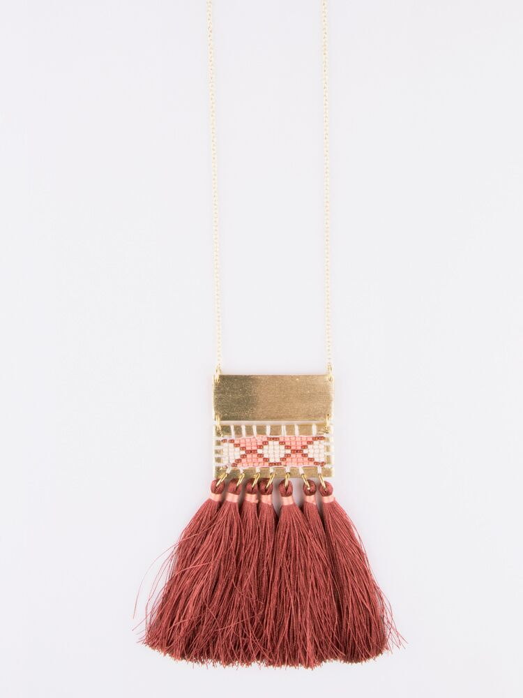 Boho Tassel Necklace Rose