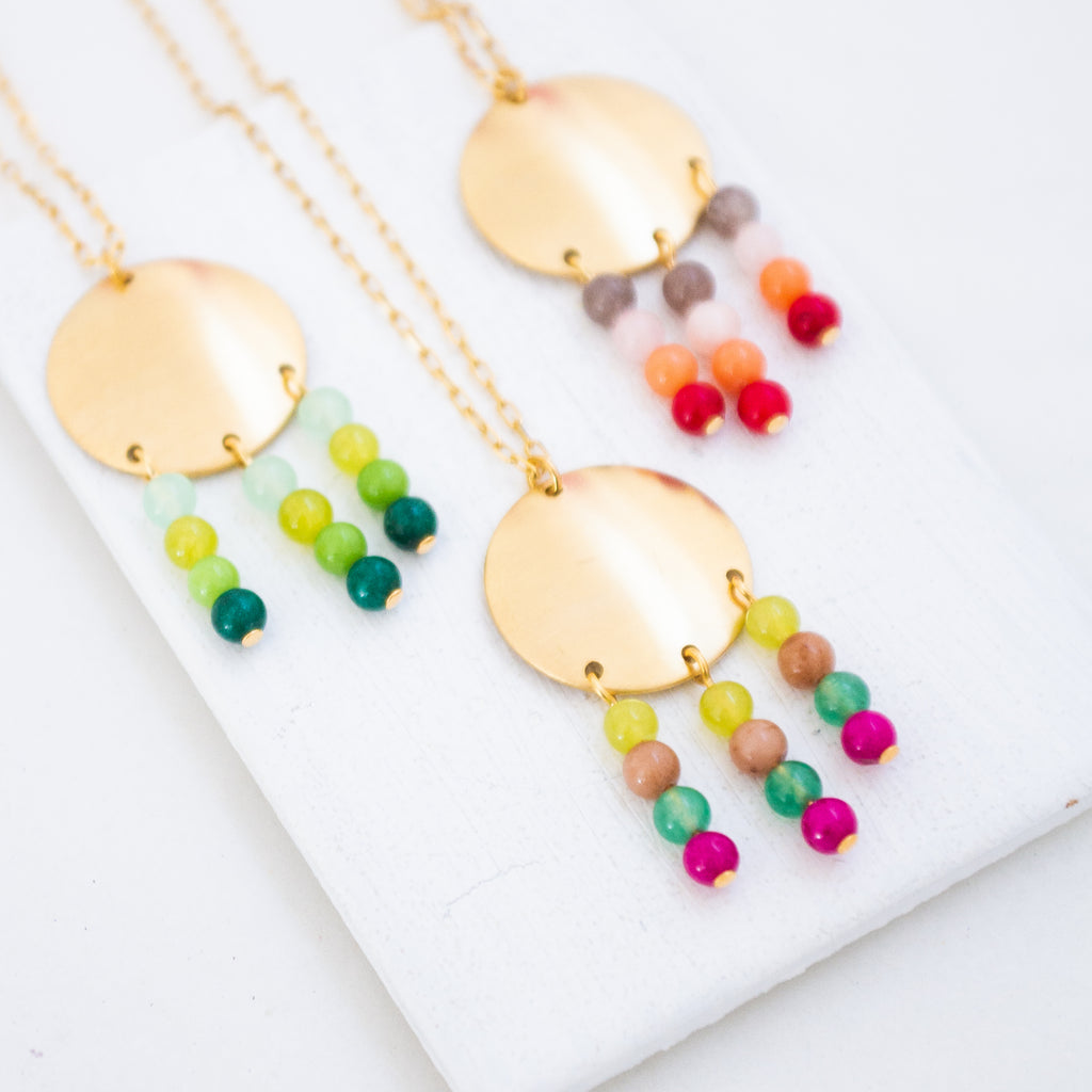 Gemstone and Brass Pendant Necklace