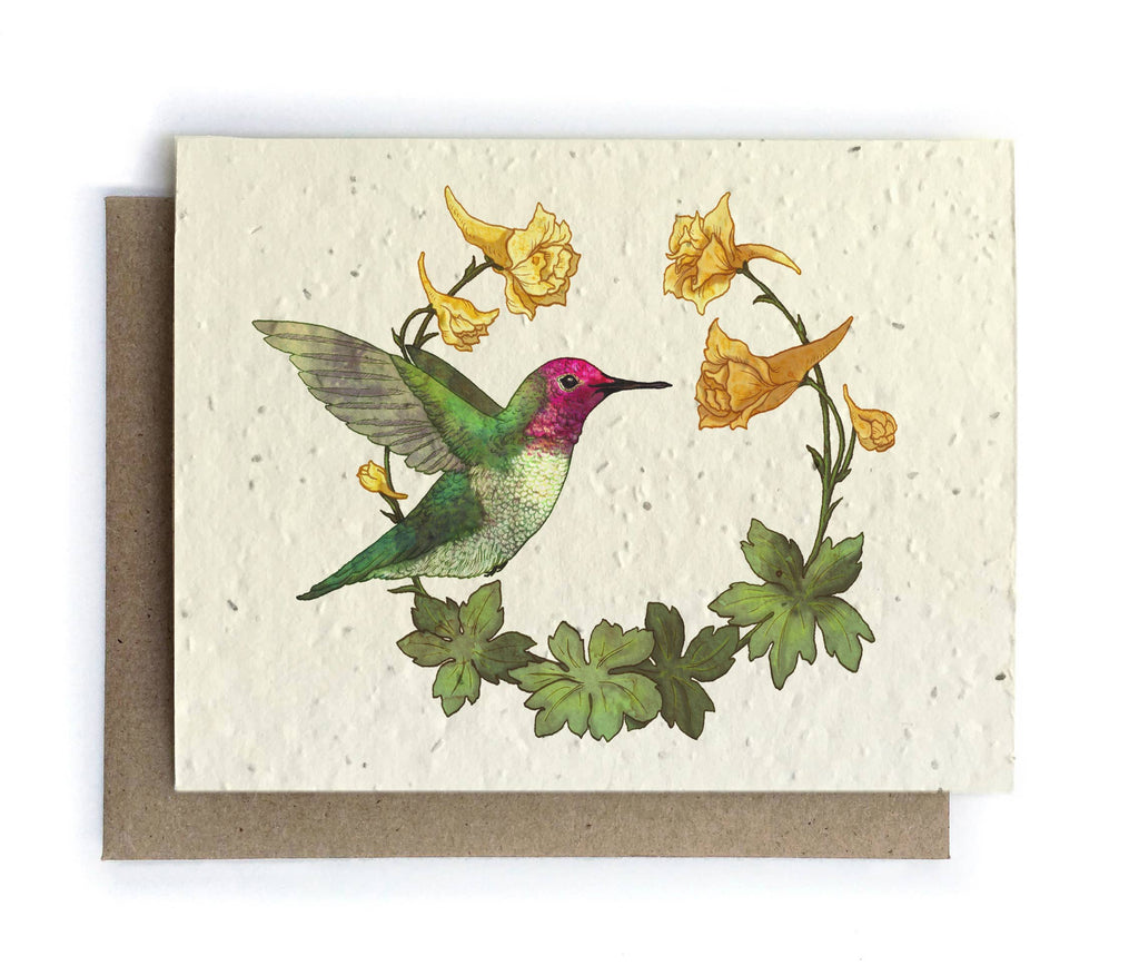 The Bower Studio - Hummingbird and Larkspur Cards - Plantable Seed Paper
