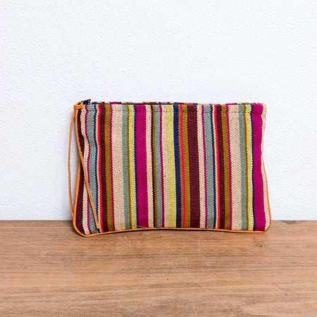 Handwoven Cosmetic Bag with Leather Detail
