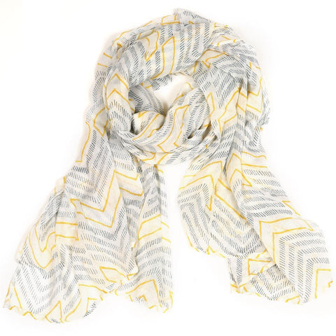 Cotton Voile Scarf by Graymarket - Chevron - Mimosa Goods