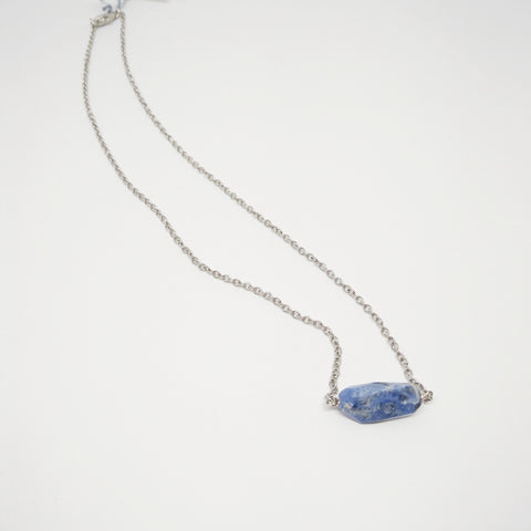 Sodalite stone necklace with silver chain - Mimosa Goods - 1