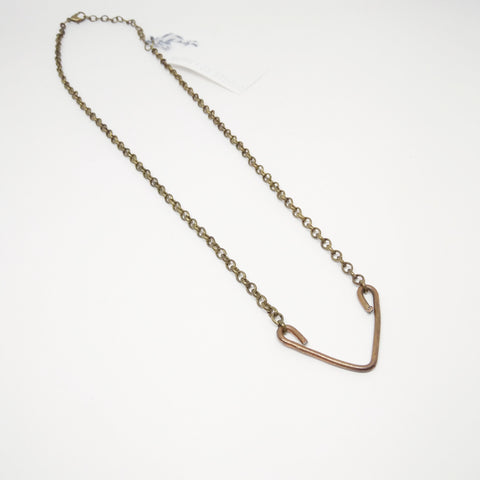 Copper V with Brass Chain Necklace - Mimosa Goods