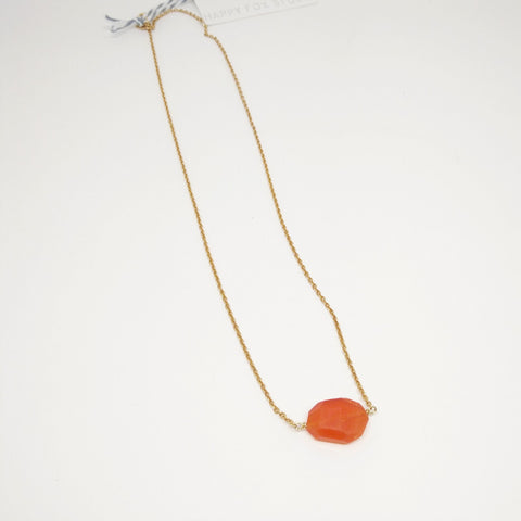 Carnelian stone necklace with gold chain - Mimosa Goods - 1