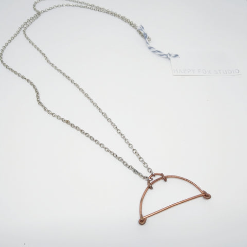 Copper Moon Shape Pendant with Silver Chain - Mimosa Goods