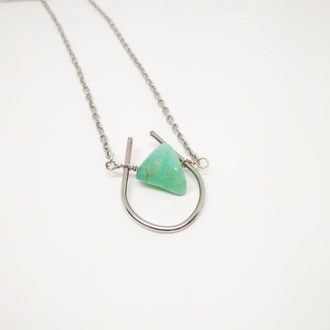 Chrysocolla Stone with Silver Loop and Chain - Mimosa Goods - 1