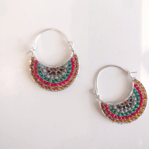 Beaded Crescent Moon Hoop Earrings