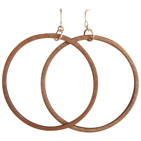 Salvaged wood hoop earrings