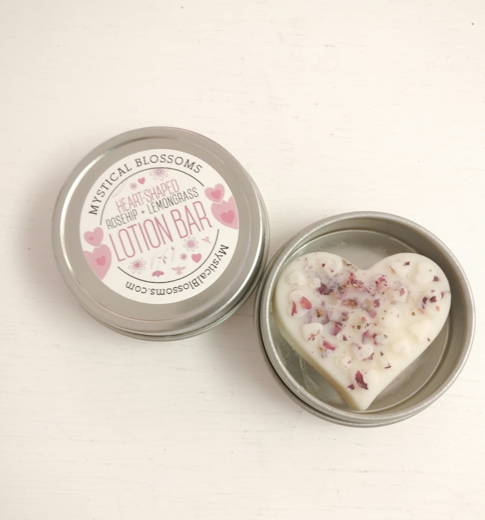 Heart-Shaped Rosehip and Lemongrass Lotion Bar