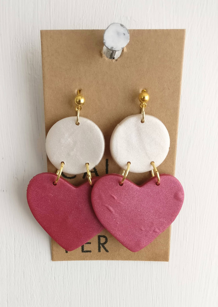 Calico & Copper Clay Earrings - Pink Hearts