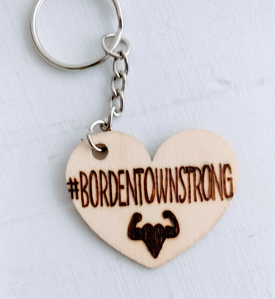Keychains benefitting #BORDENTOWNSTRONG