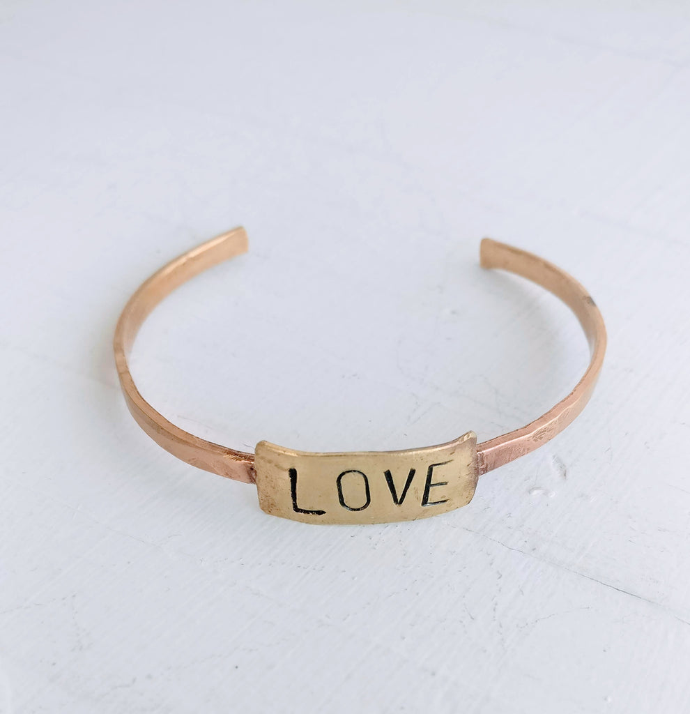 Copper Cuff Bracelet - LOVE