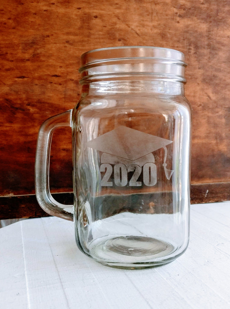Etched Class of 2020 Mason Jar Mug - Gifts for Grads