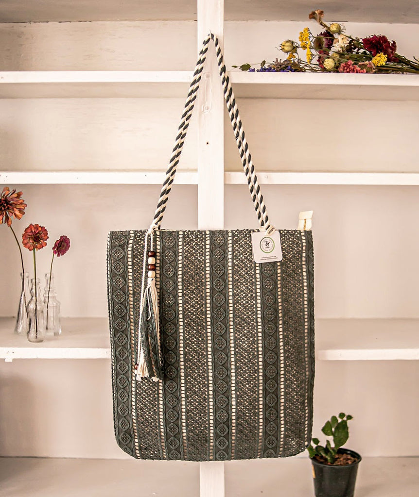 Zipper Tote - Olive Cotton Lace over Canvas