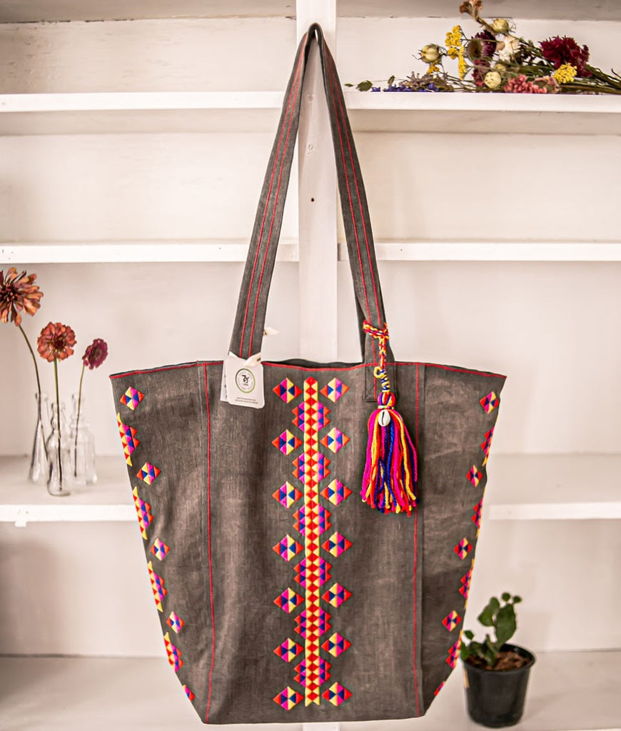 Large Boho Bag with Embroidery
