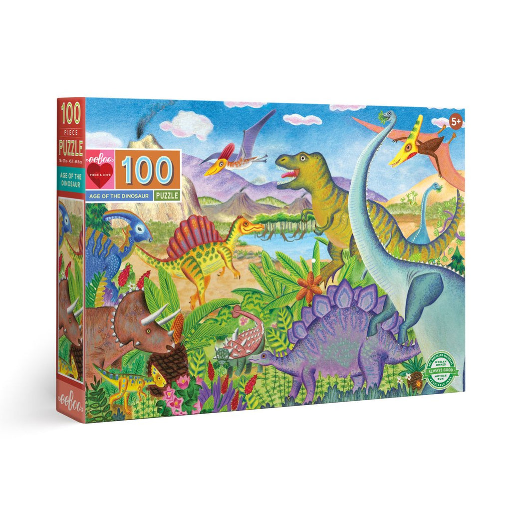 Age of Dinosaurs 100 Piece Puzzle by eeBoo