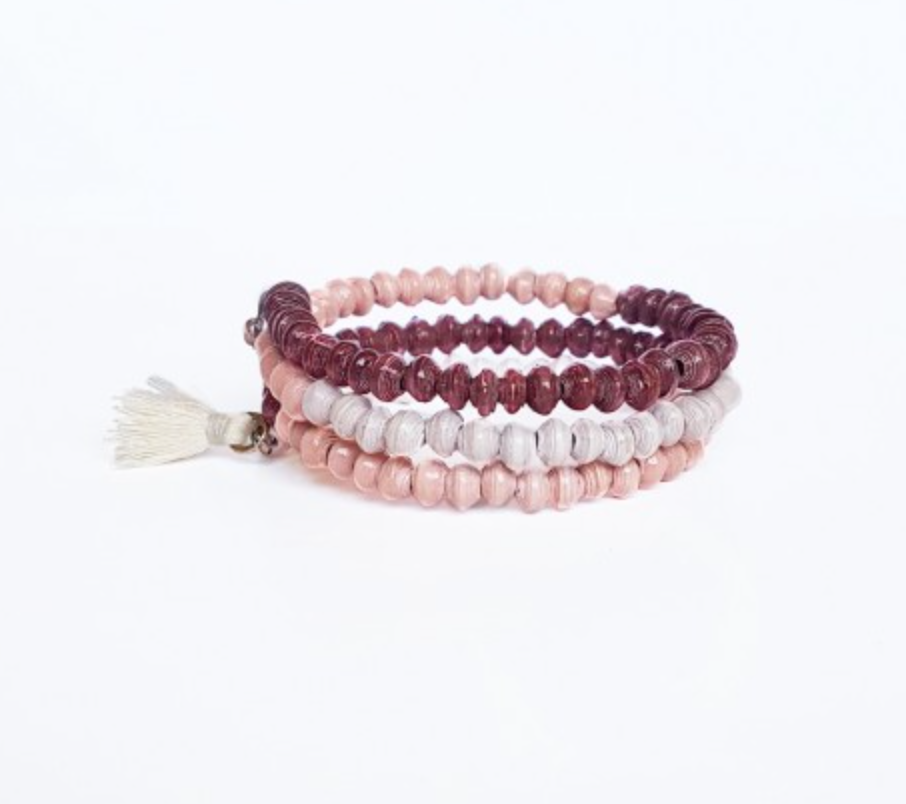 Paper Bead Coil Cuff Bracelets - Fair Trade - Berry Sorbet