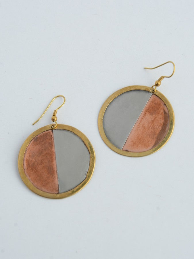 Tri-Color Plate Earrings