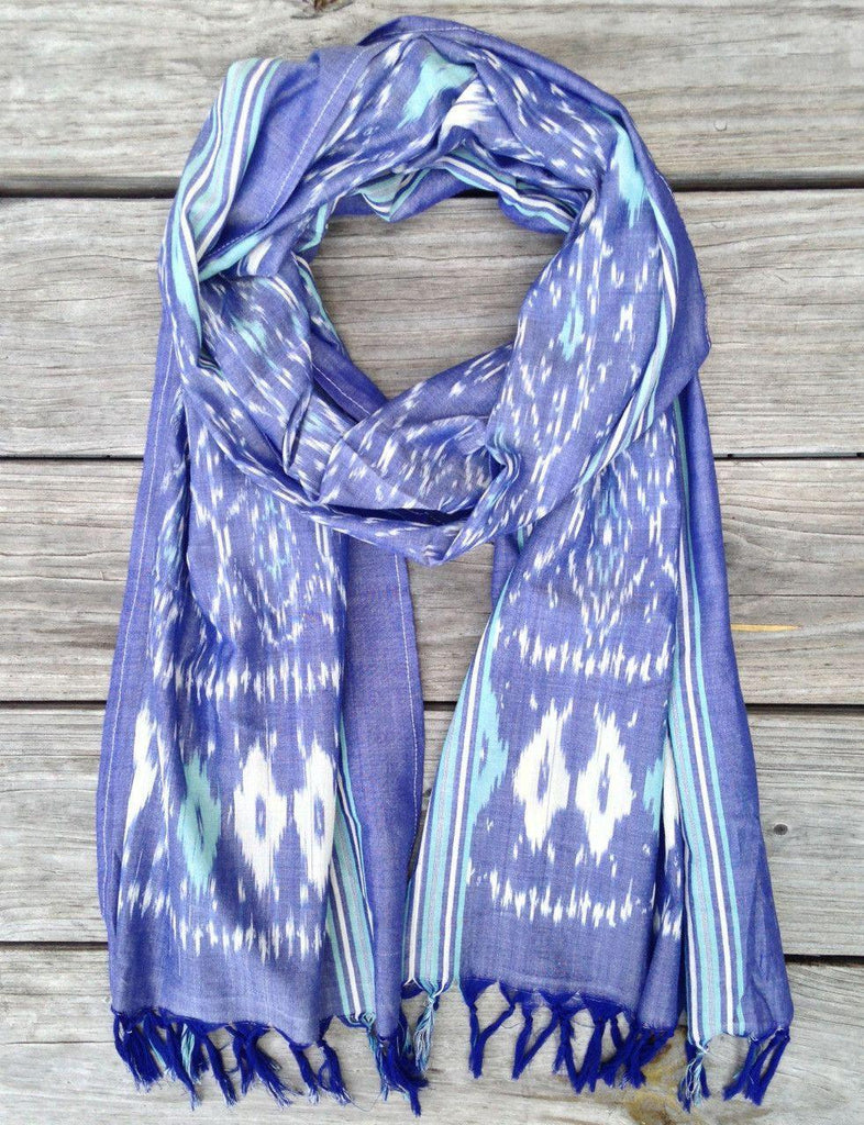 Passion Lilie - Denim and Teal Ikat Scarf