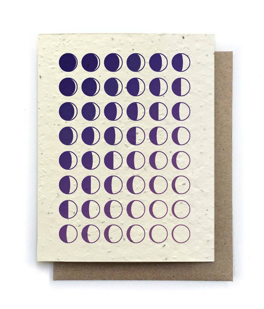 The Bower Studio - Moon Phase Birthday Card - Plantable Seed Paper