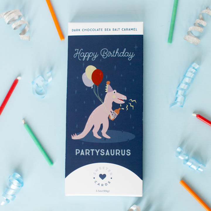 Sweeter Cards - Happy Birthday Card w Chocolate Inside! (Partysaurus)