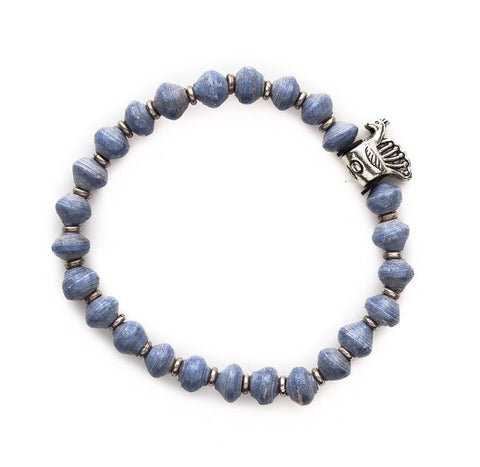 Storm Blue Recycled Paper Bead Bracelet - Bird