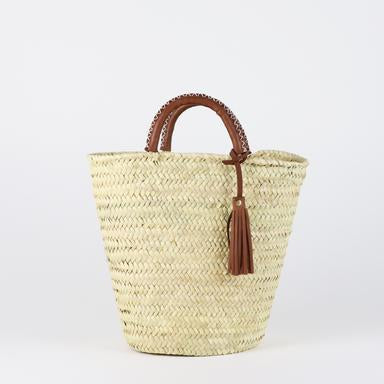 Chicago Straw bucket bag with Leather Tassel