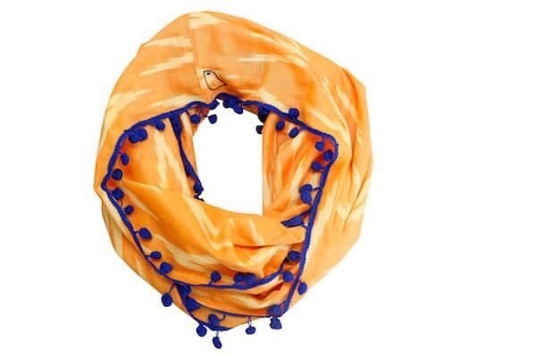 Sewing New Futures, Inc - Orange and Blue Infinity Scarf