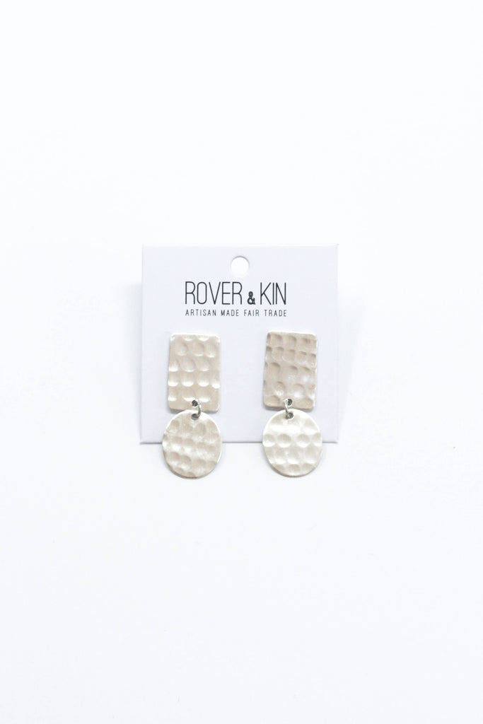 Rover & Kin - Hammered Shapes Earrings - Silver
