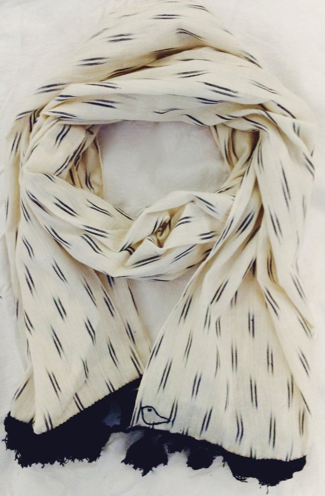Black and White Ikat Scarf with tassels