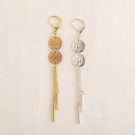 Double Disc Earrings in Silver or Gold