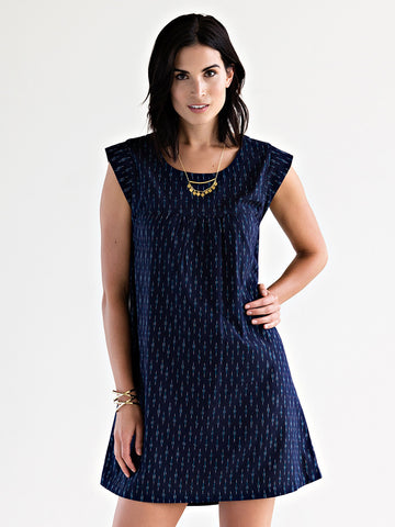 Sadie Dress Navy Ikat