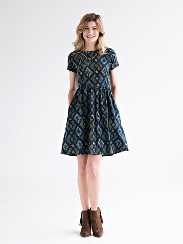 Suzette Hand Block Printed Dress in Pacific