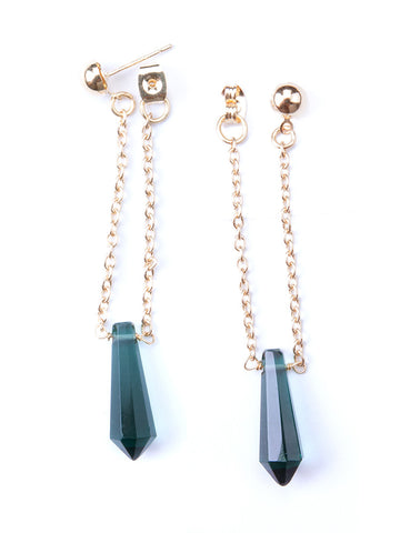 Chain Drop Studs Emerald - Mimosa Goods