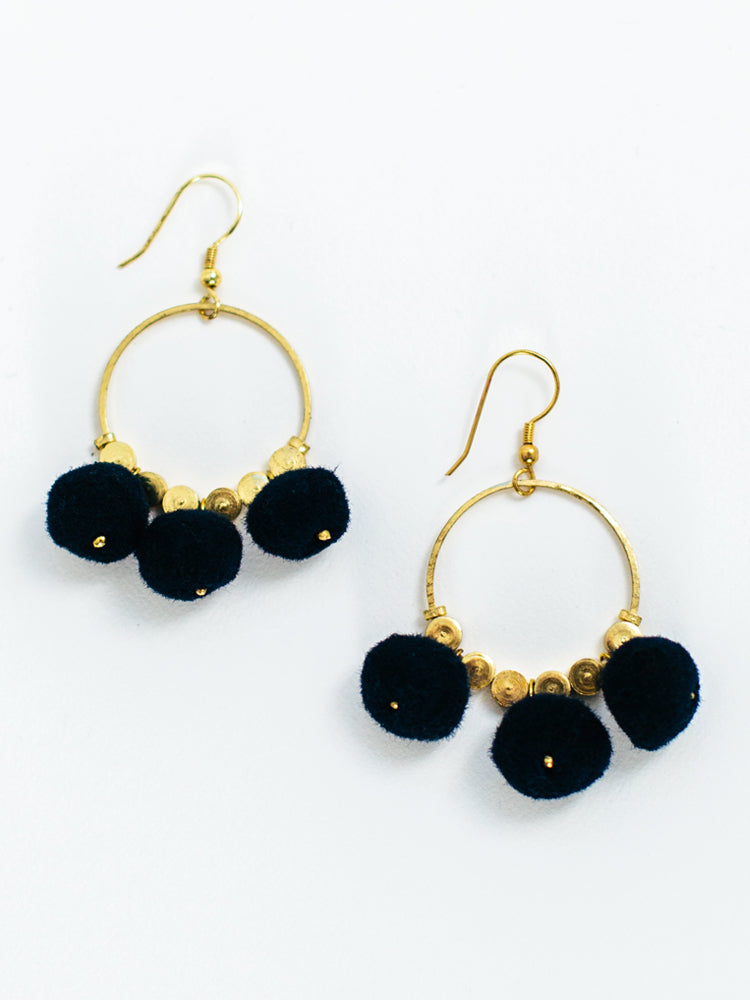Navy Pom-Pom Earrings