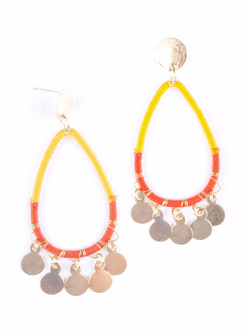Threaded Charm Earrings Orange