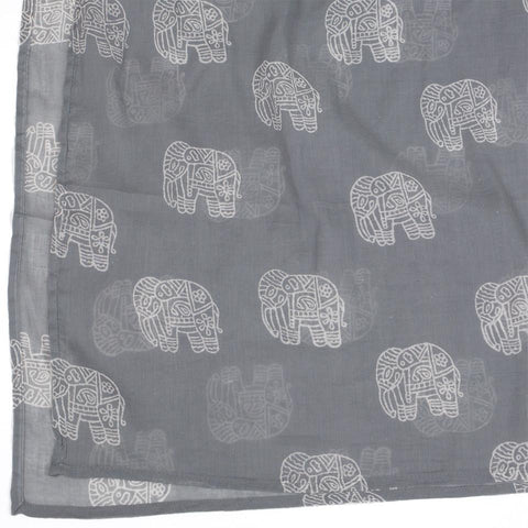 Cotton Voile Scarf by Graymarket - Elephant Print